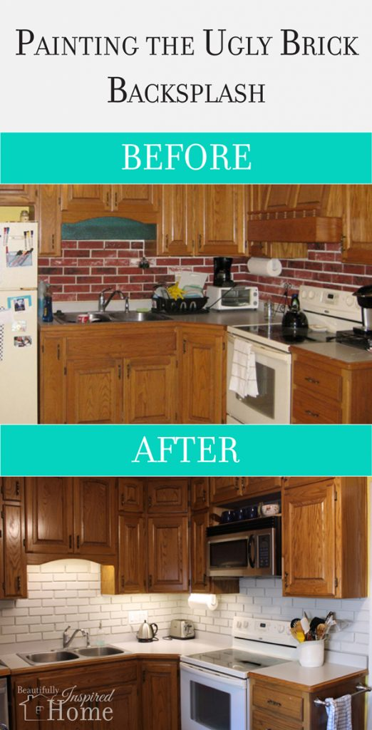 Painting The Ugly Brick Backsplash